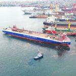 Спущен на воду двухтопливный паром для линии «Усть-Луга – Балтийск» «Генерал Черняховский»